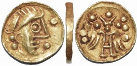 Kolchis. The Caucusus Area. 1st century BC/1st - 2nd century AD. Stater Gold,  imitating staters of Alexander III. Stylized head with huge eye, helmet...