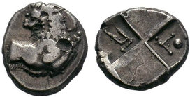 THRACE, Chersonesos. Circa 386-338 BC. AR Hemidrachm . Forepart of lion right, head reverted / Quadripartite incuse square with alternating raised and...