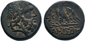 Pontos. Amisos circa 85-65 BC.AE Bronze . Laureate head of Zeus right / ΑΜΙΣΟΥ, eagle standing left on thunderbolt, in left field, monogram. SNG BM Bl...