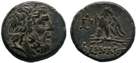 Pontos. Pharnakeia 80-70 BC. AE Bronze . Laureate head of Zeus right / ΦΑΡΝΑΚΕΙAΣ, eagle standing left on thunderbolt, head right, monogram to left.  ...