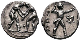 Pamphylia, Aspendos AR Stater. Circa 420-370 BC. Two wrestlers grappling; AΦ between their legs / EΣTFEΔIIVI, slinger in throwing stance right, triske...