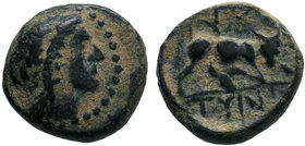 CRETE. Gortyna. Ae (Circa 220 BC). Obv: Laureate head of Apollo right. Rev: ΓΟΡ / ΤYΝ. Bull butting right. Svoronos, Numismatique, 137-40; SNG Copenha...