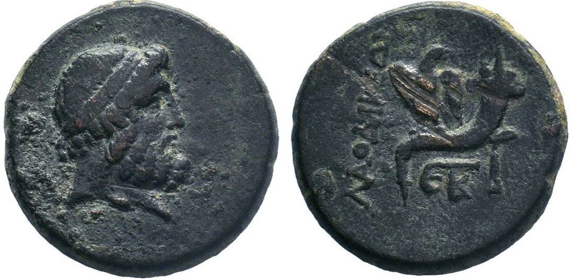 Phrygia. Laodikeia ad Lycum 133-67 BC. AE Bronze.Head of Zeus right / Eagle stan...