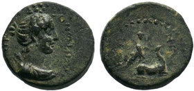 Lydia. Hierokaisareia . Pseudo-autonomous issue AD 54-68. Time of Nero; KΛ. ΚΑΠΙΤΩΝ , magistrate.AE Bronze.EΠI KΛ KAΠITωNOC , draped bust of Artemis P...