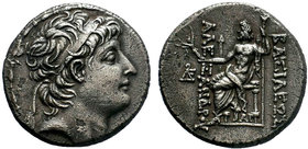 Seleukid Kingdom. Alexander II Zabinas. 128-122 B.C. AR Tetradrachm . Antioch on the Orontes. Diademed head of Alexander II right / ΒΑΣΙΛΕΩΣ ΑΛΕ-ΞΑΝΔΡ...