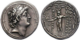 Seleukid Kings of Syria, Antiochos VIII Epiphanes Grypos AR Tetradrachm. Ake-Ptolemaïs, circa 121-113 BC. Diademed head of Antiochos right within fill...