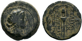SYRIA, Seleukis and Pieria. Seleukeia Pieria. 2nd-1st century BC. AE Bronze. Laureate head of Apollo to right, with bow and quiver over his shoulder. ...