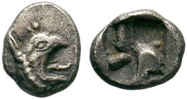 Ionia. Phokaia 530-500 BC. AR Obol . Head of griffin right / Quadripartite incuse square. very fine SNG von Aulock 2116 var