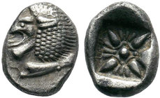 IONIA, Miletos. Late 6th-early 5th century BC. AR Obol . Forepart of lion right, head reverted / Stellate pattern within incuse square. SNG Kayhan 476...