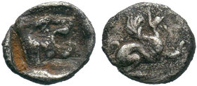 Troas. Assos circa 500-400 BC. Obol AR. Griffin leaping right / Lion's head right with dotted truncation, within incuse square. very fine Weber 5318; ...