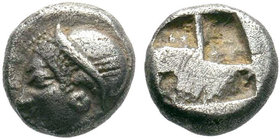 Ionia, Phokaia. Ca. 521-478 B.C. AR obol . Archaic female head left / Quadripartite incuse square. Klein 452-3.  Condition: Very Fine  Weight: 1.24 gr...