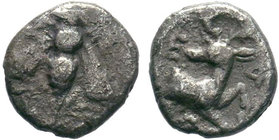 Greek Ionia. Ephesos circa 390-380 BC. AR Obol . Bee, E-Φ flanking / Forepart of stag right, E-Φ flanking, all within incuse circle. nearly very fine ...