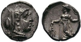 CILICIA, Mallos. 385-333BC. AR Obol (0.60 gm). Veiled head of Demeter / Demeter advancing left holding flaming torch and ear of corn. SNG.Lev.159. Ton...