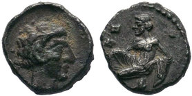Cilicia, Tarsos AR Obol. Circa 389-375 BC. Female kneeling left, tossing astralagoi / Male head right. Casabonne Group K2; Göktürk 17–8; SNG France 23...