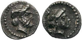 CILICIA. Nagidos.AR Obol (Circa 400-380 BC). Obv: Head of Aphrodite right. Rev: ΝΑΓΙ. Laureate and bearded head of Dionysos right. Ziegler -; Göktürk ...