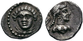 CILICIA, Uncertain mint. Circa 4th Century BC. AR Obol . Female head facing slightly left, hair in curls, drapery around neck / Draped bust of Aphrodi...
