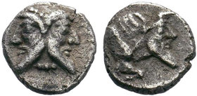 CILICIA. Mallos. Obol (Late 5th-early 4th centuries BC). Obv: Bearded janiform head. Rev: Forepart of man-headed bull right. Ziegler -; Göktürk -; SNG...