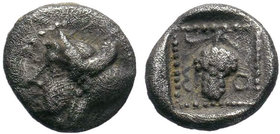 Cilicia, Soloi AR Obol. 425-400 BC. Head of Amazon left, wearing pointed cap / Grape bunch. SNG Levante 42 = SNG von Aulock 5860.