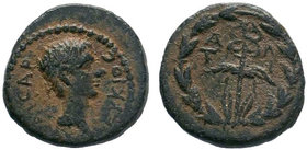 Caria. Antiocheia ad Maeander . Augustus 27 BC-AD 14. AE Bronze.ΑΝΤΙΟΧΕΩΝ, bare head of Augustus right / Winged kerykeion within laurel wreath. RPC I ...