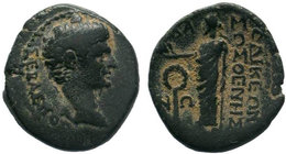 PHRYGIA. Laodicea ad Lycum. Augustus (27 BC-14 AD). AE Bronze. Sosthenes, magistrate.Obv: ΣΕΒΑΣΤΟΣ. Bare head right.Rev: ΛΑ / OΔΙKΕΩΝ ΣΟΣΘΕΝEΣ. Zeus s...