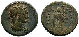 Phrygia.Traianopolis.Hadrian.AE Bronze.Bust of Heracles, r. lion's skin around neck Rev: ΤΡΑΙΑΝΟΠΟΛΙΤΩΝ Nike standing r., holding wreath in her r. han...