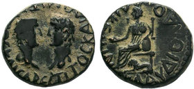 LYCAONIA. Laodicea Catacecaumene . Titus and Domitian . AE Bronze.Obv: TITOC KAI ΔOMITIANOC KAICAPЄC. Bare heads of Titus and Domitian facing one anot...