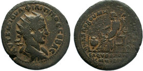 CILICIA, Anazarbus. Philip I. AD 244-249. AE. Dated CY 263 (AD 244/5). Radiate, draped, and cuirassed bust right / Koinoboulion seated left, holding c...