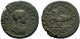 Philip II, as Caesar, Æ26 of Anazarbus, Cilicia. Dated CY 263 = AD 244/5. Bare-headed, draped and cuirassed bust right, seen from behind / ANAZAPBOV M...