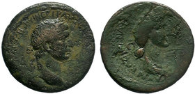 CILICIA. Anazarbus. Trajan, with Plotina, 98-117. Tetrassarion AE Bronze, CY 132 = 113/4. AYTO KAI NЄP TPAIANOC CЄ ΓЄP ΔA Laureate head of Trajan to r...