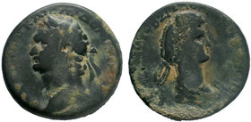 CILICIA. Mopsouestia-Mopsos. Domitian, with Domitia, 81-96. Tetrassarion AE Bronze, CY 162 = 94/5. AYTOKPATΩP KAIΣAP ΔOMITIANOΣ ΓEPM Laureate head of ...