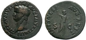 Claudius I Æ As. Restitution issue under Titus. Rome, AD 80-81. TI [CLAV]DIVS CAESAR AVG P M TR P IMP P P, bare head left / IMP T VESP AVG REST, Miner...