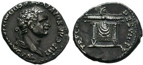 Domitian, 81-96. Denarius, Rome, 82. IMP CAES DOMITIANVS AVG P M Laureate head of Domitian to right. Rev. TR POT COS VIII P P Lighted altar. Cohen 598...