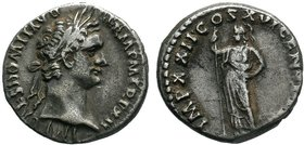 Domitian AD 81-96. Rome Denarius AR 16mm., 3,20g. IMP CAES DOMIT AVG GERM P M TR P [XII?], laureate head of Domitian right / IMP XX[II? COS XVI? C]ENS...