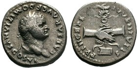 DOMITIAN (81-96). Denarius. Rome. Obv: CAESAR AVG F DOMITIANVS COS VI. Laureate head right. Rev: PRINCEPS IVVENTVTIS. Clasped hands before legionary e...