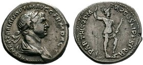 TRAJAN (98-117). Denarius. Rome. Obv: IMP CAES NER TRAIAN OPTIM AVG GERM DAC. Laureate, draped and cuirassed bust right, seen from behind. Rev: PARTHI...