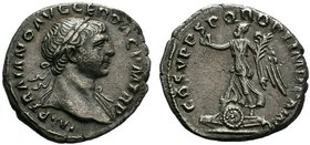 Trajan. A.D. 98-117. AR denarius. Rome mint, struck A.D. 107-108. IMP TRAIANO AVG GER DAC P M TR P, laureate head right, draped left shoulder / COS V ...