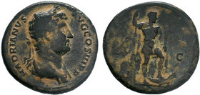Hadrianus 117-138AD - Sesterius, 136 AD, AE. HADRIANVS AVG COS III PP laureate and draped bust right. R/. SC hadrian stg. right left foot on crocodile...