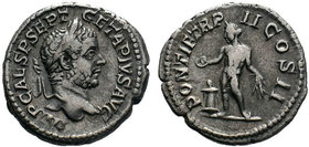 GETA (209-211). Denarius. Rome.Obv: P SEPTIMIVS GETA CAES.Bare head right.Rev: PONTIF COS II.Genius standing left, sacrificing from patera over lighte...