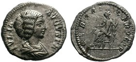 JULIA DOMNA. AR Denarius. Rome, AD 200-207. IVLIA AVGVSTA, draped bust right / CERERI FRVGIT, Ceres seated left, holding grain ears and torch. RIC IV ...