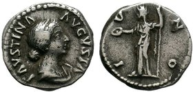 Faustina Junior AR Denarius. Rome, AD 179. FAVSTINA AVGVSTA, draped bust right / IVNO, Juno veiled, standing left, holding patera and sceptre; at her ...