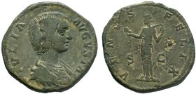 Julia Domna, Augusta, 193-217. AE Sestertius, struck under her husband, Septimius Severus, Rome, 207-211. IVLIA AVGVSTA Draped bust of Julia Domna to ...