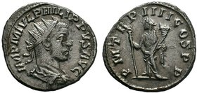 Philip II AR Antoninianus. Antioch, AD 249. IMP M IVL PHILIPPVS AVG, radiate, draped and cuirassed bust right / P M TR P VI COS P P, Felicitas standin...