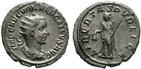 Trebonianus Gallus. A.D. 251-253. AR antoninianus.. Milan mint. His radiate, draped, and cuirassed bust right; IMP C C VIB TREB GALLVS AVG / Libertas ...