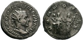 Decius AD 248-251. Rome.Antoninian.IMP C M Q TRAIANVS DECIVS AVG, radiate, draped and cuirassed bust right / PANNONIAE, the two Pannonia, veiled, stan...