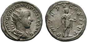 Gordian III AR. Antoninianus, Rome, AD 241-243. IMP GORDIANVS PIVS FEL AVG, radiate, draped and cuirassed bust of Gordian III to right / P M TR P V CO...