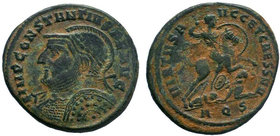 Constantius I, 305-306.AE Follis, Aquileia, circa 305-306. IMP CONSTANTIVS P F AVG Laureate, helmeted and cuirassed bust of Constantius I to left, hol...