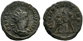 Valerian II Caesar (256-258 AD). AR Antoninianus. Antioch mint. Obv. P LIC COR VALERIANVS CAES, Radiate and draped bust to right. Rev. VICTORIA PART, ...