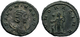 Salonina, Augusta, 254-268. Antoninianus .Antioch, 263. SALONINA AVG Diademed and draped bust of Salonina to right, set on crescent. Rev. IVNO REGINA ...