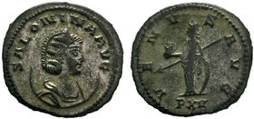 Salonina (wife of Gallienus) BI Antoninianus. Antioch, AD 267. SALONINA AVG, diademed and draped bust right, set on crescent / VENVS AVG, Venus standi...