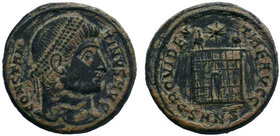 CONSTANTINE I. 307-337 AD. Æ Follis. Nicomedia mint. Struck 328-9 AD. CONSTAN-TINVS AVG, pearl-diademed head right / PROVIDEN-TIAE CAESS•, camp-gate w...